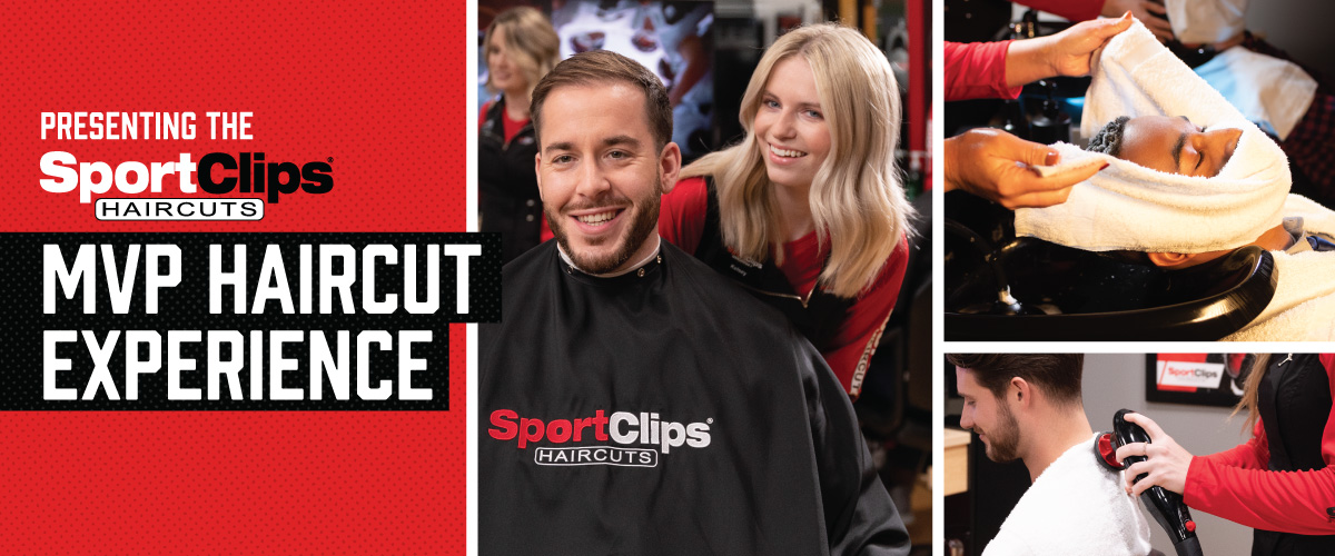 The Sport Clips Haircuts of Cedar Park MVP Haircut Experience with stylist giving a client a haircut, a hot towel placed on his face, and using a massager on a clients upper back